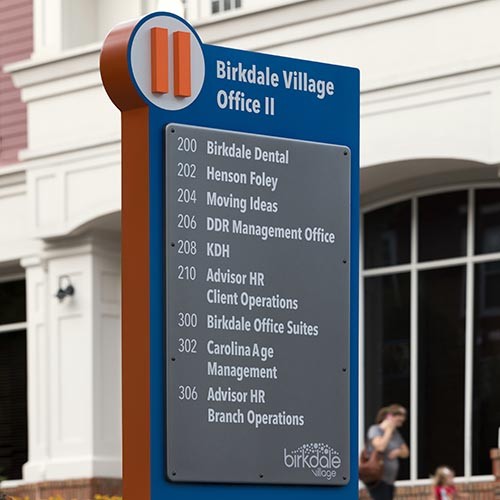 Custom fabricated rectangular pedestrian directional and wayfinding sign for birkdale village shopping center