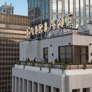 Fairlane Luxury Hotel rooftop in Nashville TN with neon rooftop sign