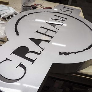 The graham street blade sign in assembly at the Rite Lite production facility
