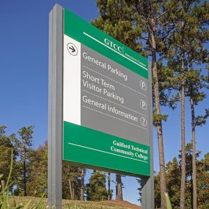 Directional sign at Guildford Technical Community College