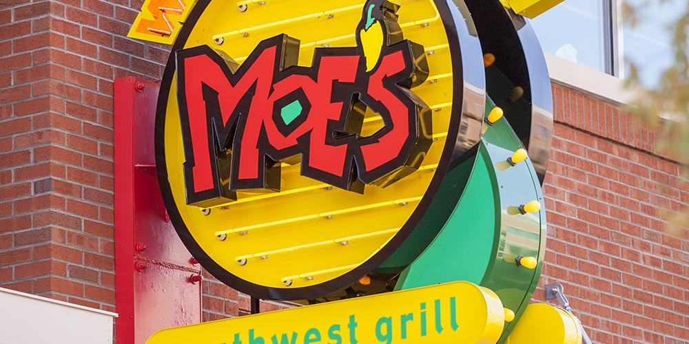 Custom neon blade sign for Moe's Southwest Grill by Rite Lite