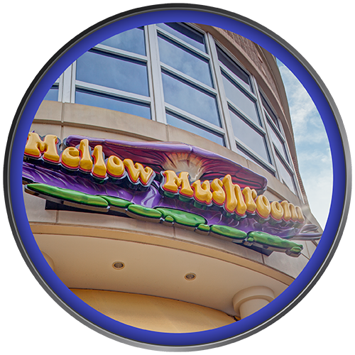 Artisan sculpted wall sign for Mellow Mushroom restaurant by Rite Lite