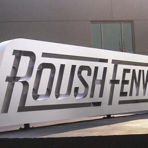 Roush Fenway museum monument sign with negative channel letters