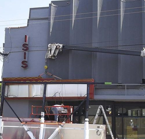 Rite Lite critical installation of Isis Music Theater marquee with crane in Asheville, NC