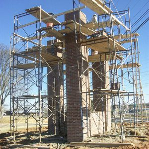Scaffolding of masonry work on Rowan Cabarrus Community College