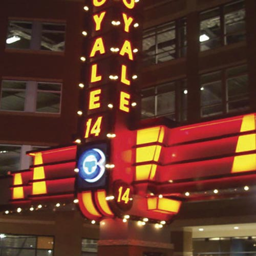Royale 14 Theater Blade sign during the night
