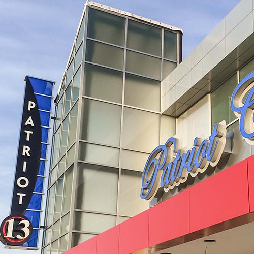 Custom channel letter Patrio Theater and blade sign for Carmike Cinemas