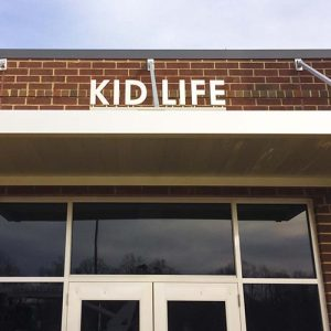 Custom fabricated dimensional letters for Life Fellowship church entrance