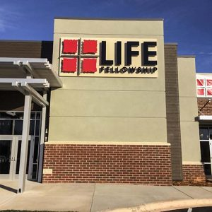 Routed aluminum dimensional letters on wall sign at Life Fellowship hurch