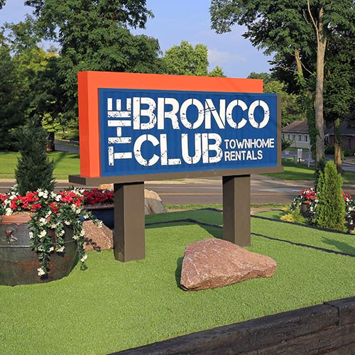 Modern monument sign for apartment entrance for the Bronco Club