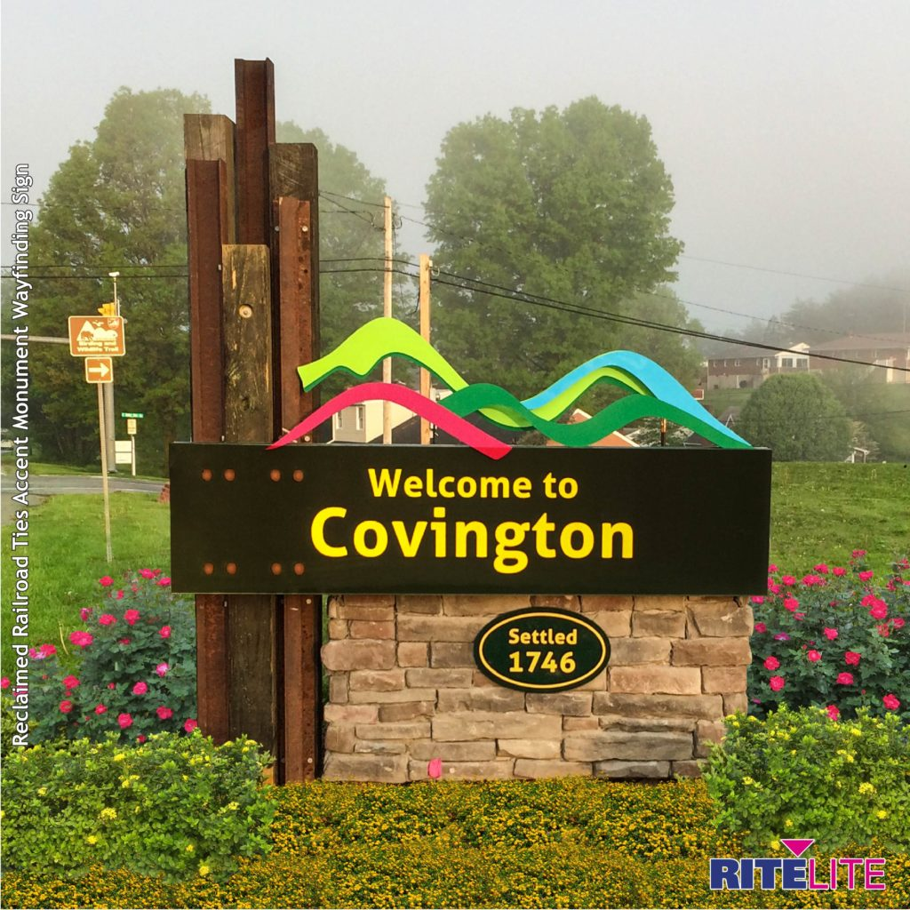 Reclaimed wood and stone for Covington monument sign