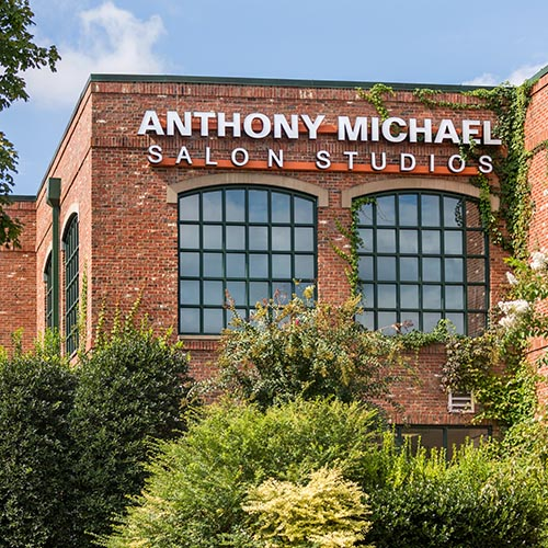 LED illuminated channel letters wall sign for Anthony Michael Salon Studios in Charlotte NC