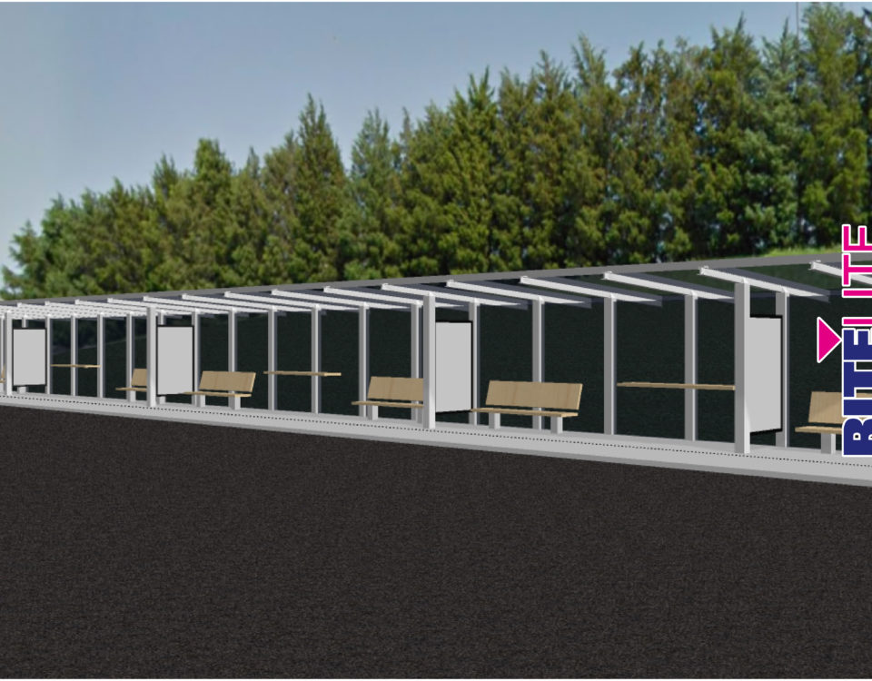 Rite Lite rendering of a bus shetler custom fabrication structure