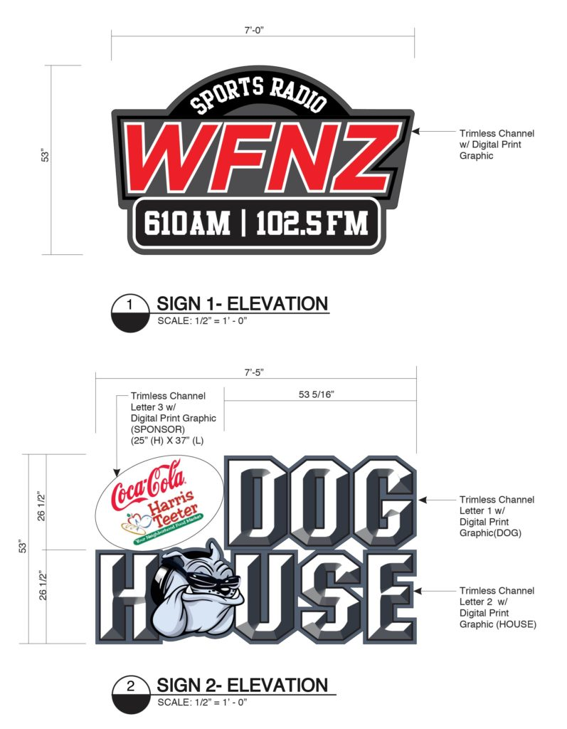 Logo rendering for WFNZ Radio and The Dog House from Rite Lite Signs