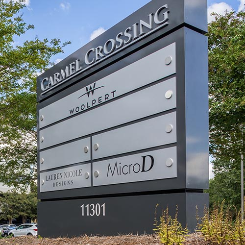 Corporate entrance monument sign with dimensional letters fabricated by Rite Lite