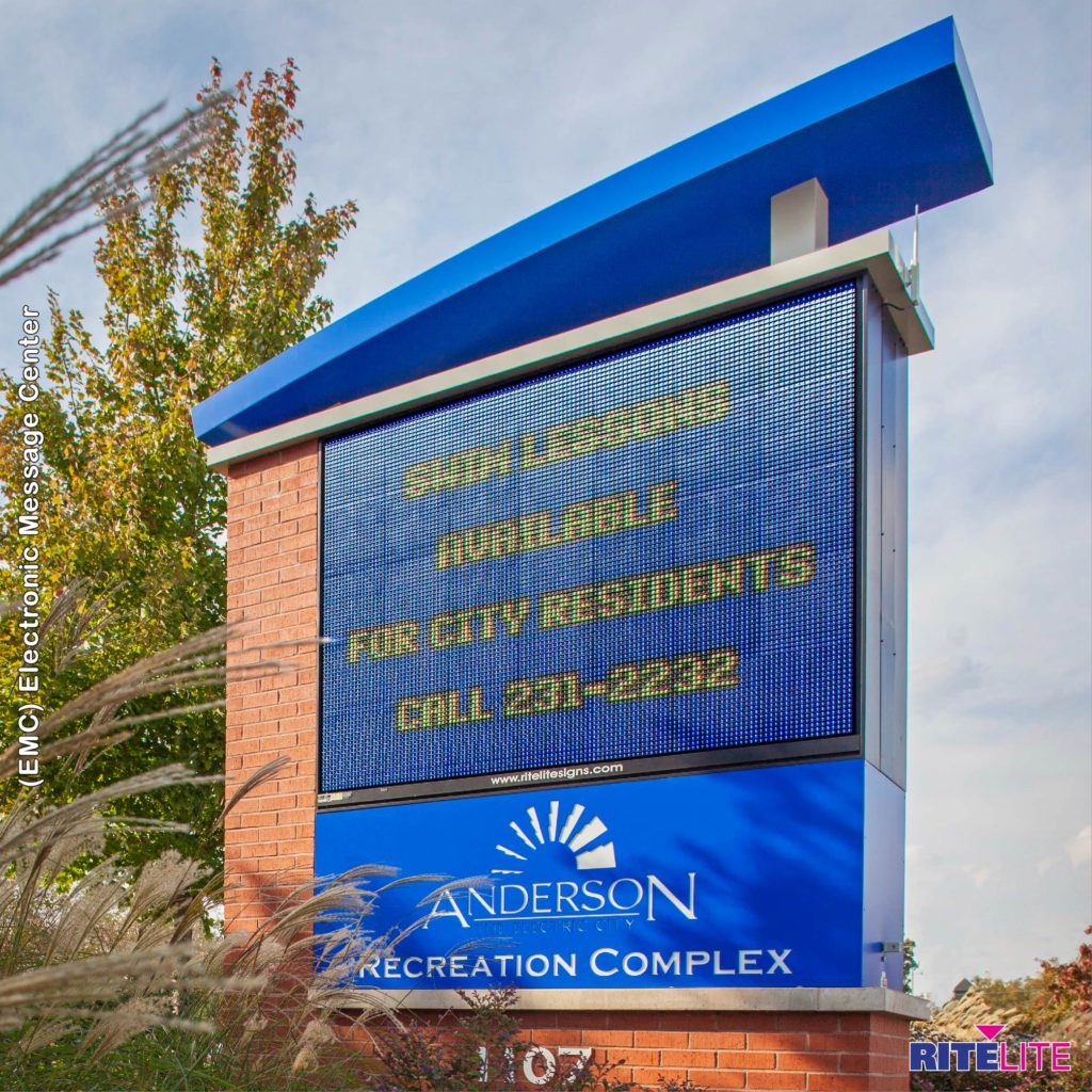 Monument sign with emc for andersen recreation complex
