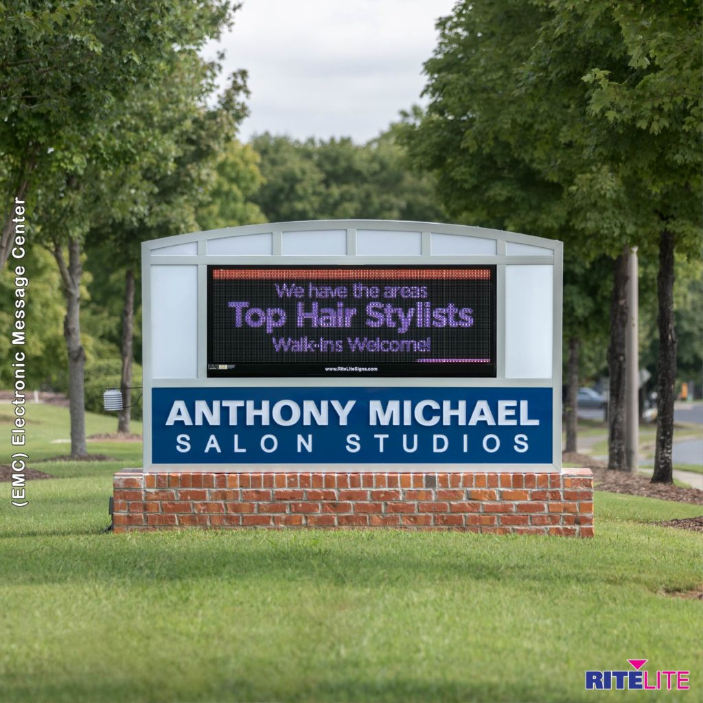 Monument sign outside with electronic message center fopr anthony michael salon studios by Rite Lite