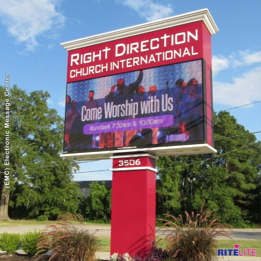 Red pole sign with emc for Right Direction Church
