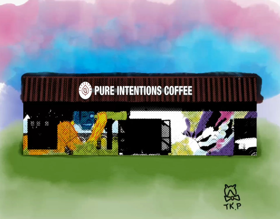 Colored drawing of proposed new wall sign for Pure Intentions Coffee business in Charlotte