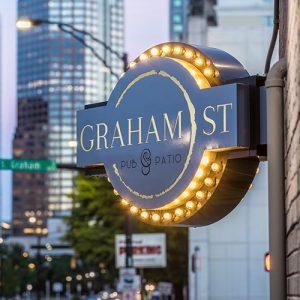 Custom resturant sign for Graham Street Pub & Patio restaurant in Uptown Charlotte NC