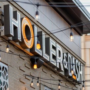 Custom wall sign for restaurant Holler & Dash in Southend Charlotte, NC