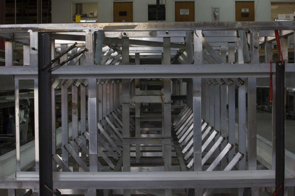 linear view of the lines of the fabricated pieces making a steel structure
