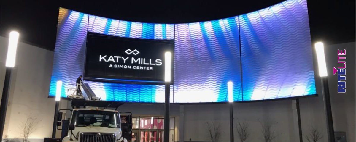 Truck installing GKD metal mesh fabric with light features at Katy Mills Mall