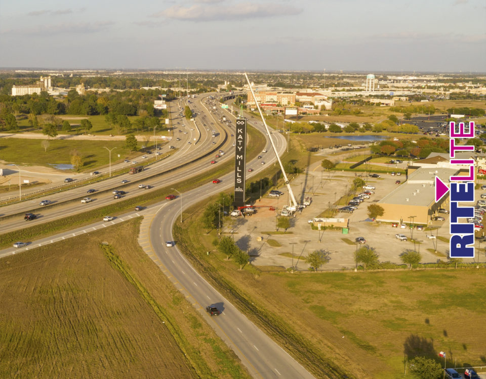 Aerial view of the Katy Mills Mall Sign installation