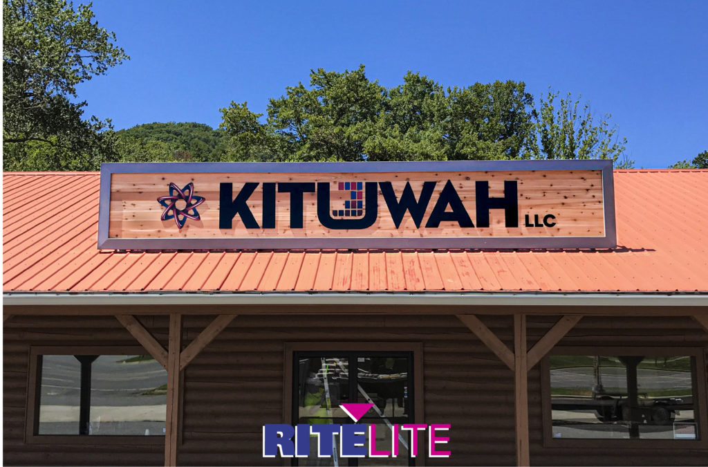Custom rooftop-mounted sign for Kituwah LLC by Rite Lite Signs.