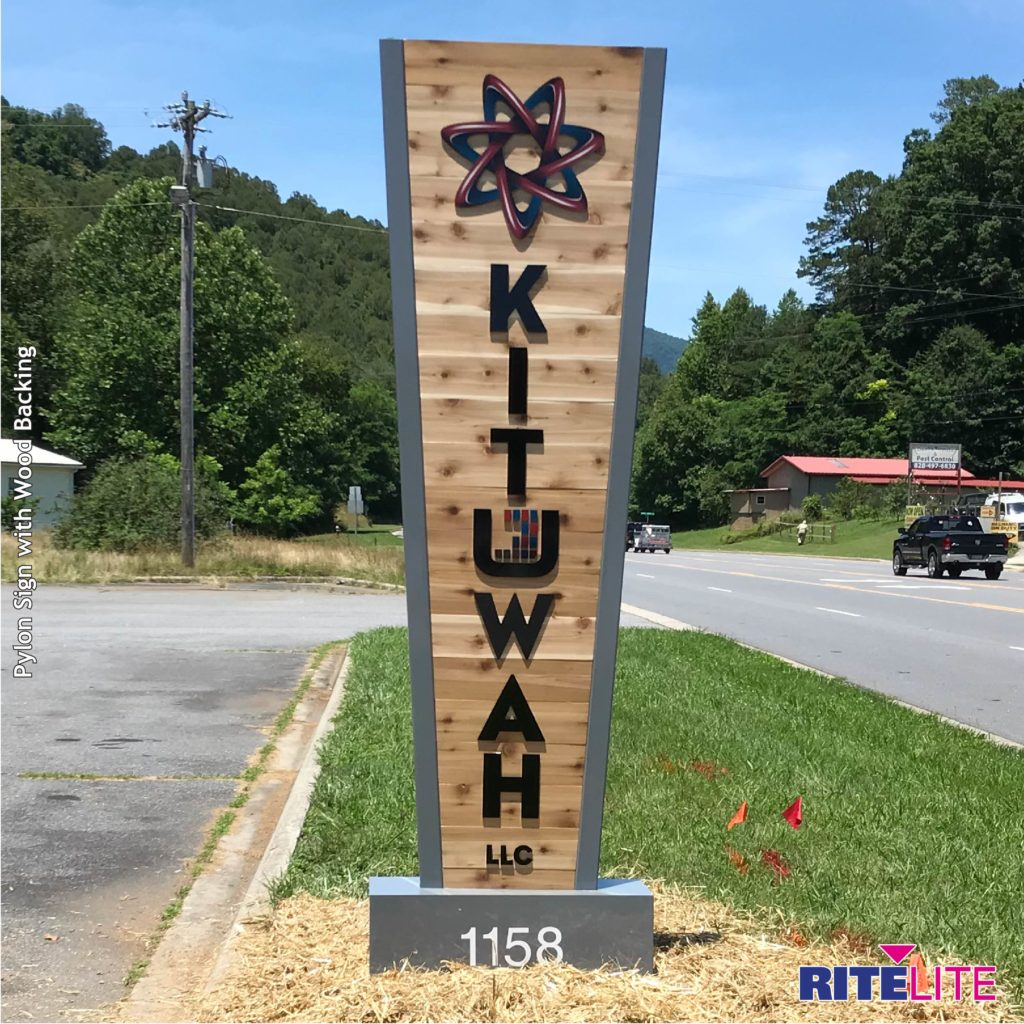 Kituwah pylon sign with wooden backing