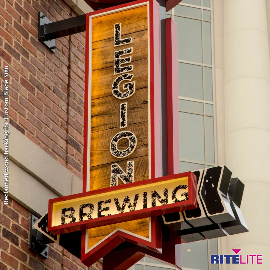 Legion brewery blade sign with wooden accents