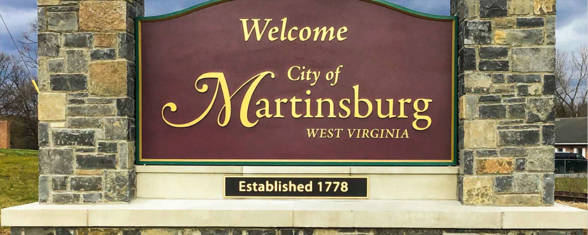Wayfinding Masonry monument sign for the town of Martinsburg West Virginia