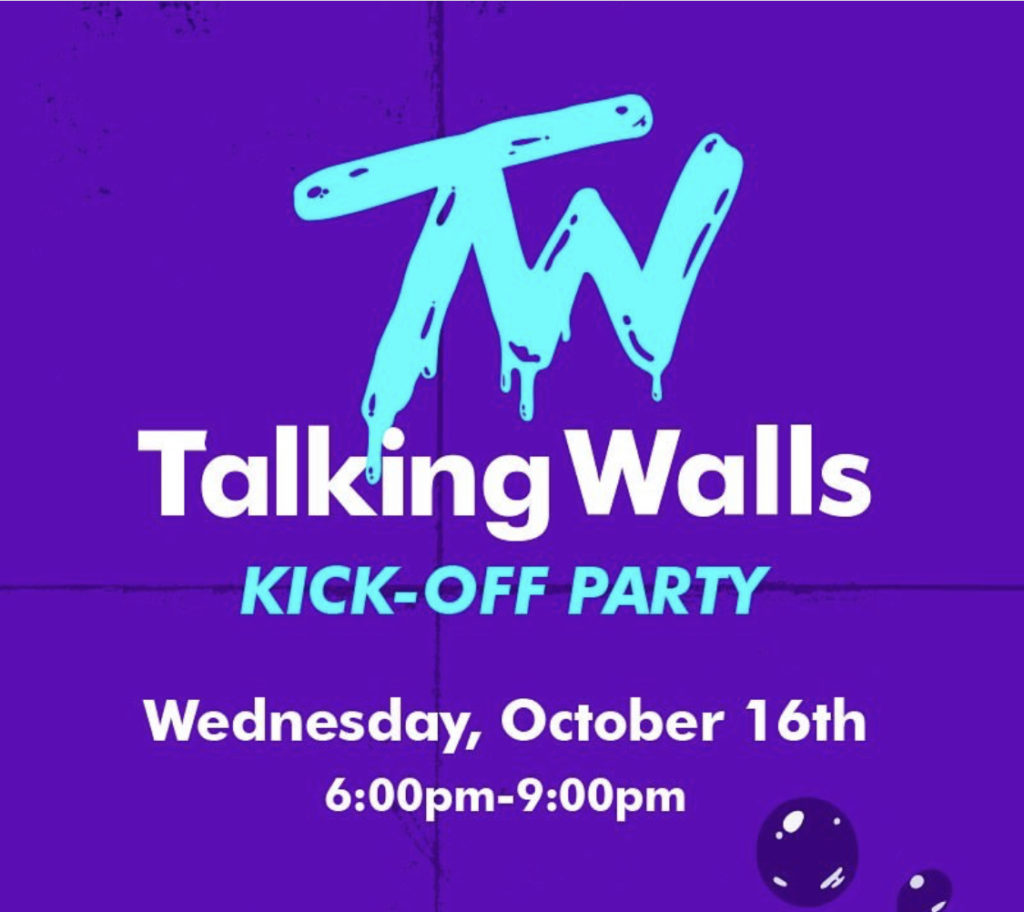 Talking Walls purple logo kick off party announcement on October 16