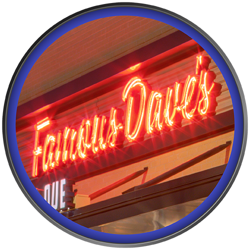 Custom fabricated neon wall sign for restaurant Famous Dave's by Rite Lite