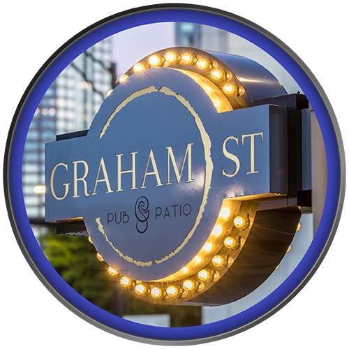 Rite Lite fabricated blade sign with marquee accent lighting for Graham Street Pub & Patio in Uptown Charlotte