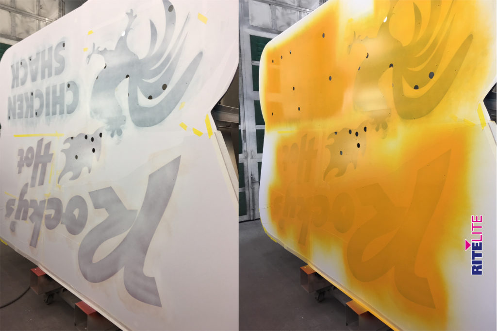 Split screen of masked painting process in paint bay at Rite Lite facility
