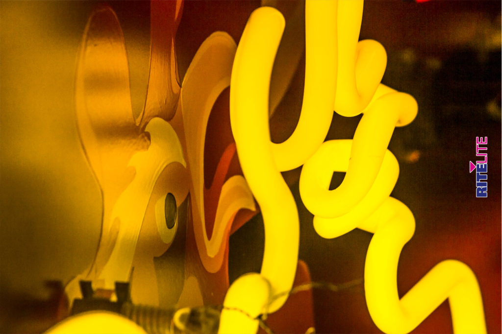 Close up of neon bending for Rocky's Hot Chicken Shack