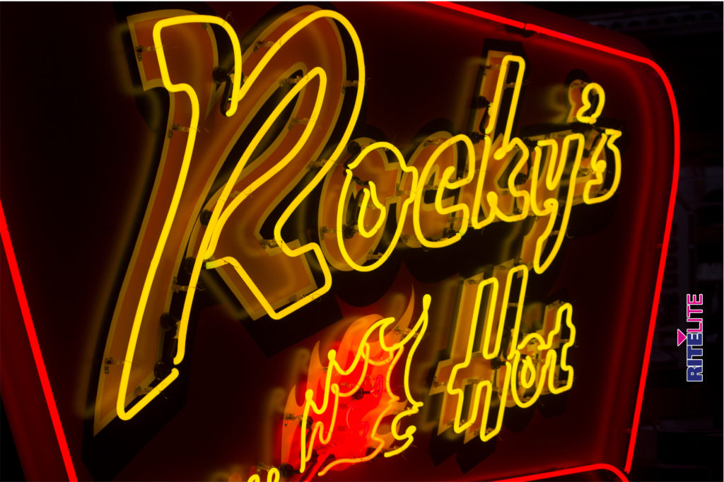 Yellow neon tubing of Rocky's Hot Chicken Shack neon sign