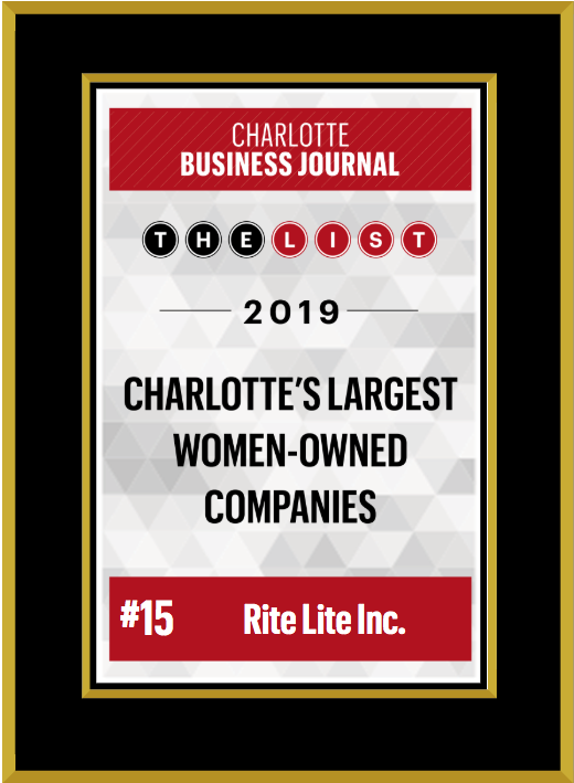 Charlotte Business Journal award to Rite Lite for Charlotte's Largest Women-Owned Companies