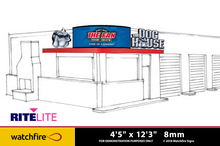 Rite Lite rendering of a building with proposed signage and canopy