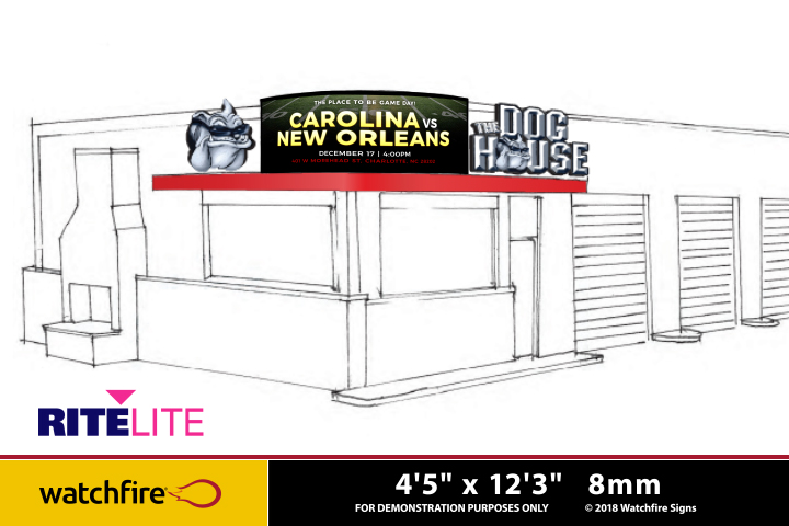 Rendering of Watchfire Sign for the Dog House by Rite Lite in Charlotte