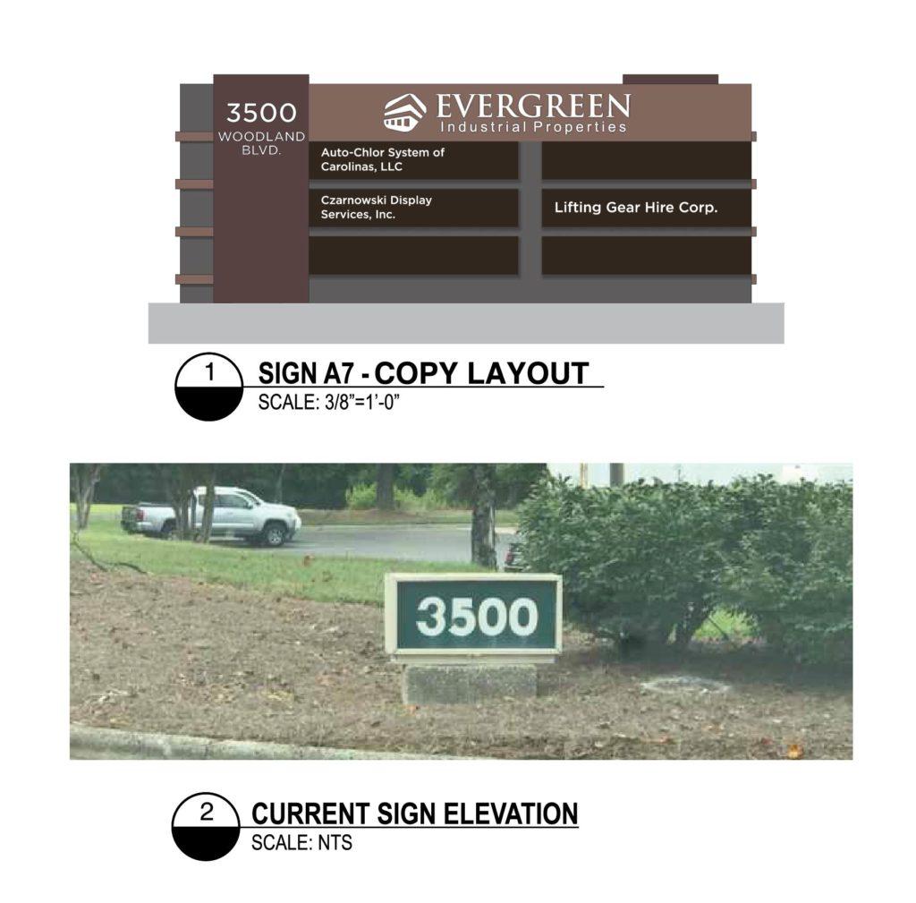 Evergreen Industrial Properties Monument sign rendering