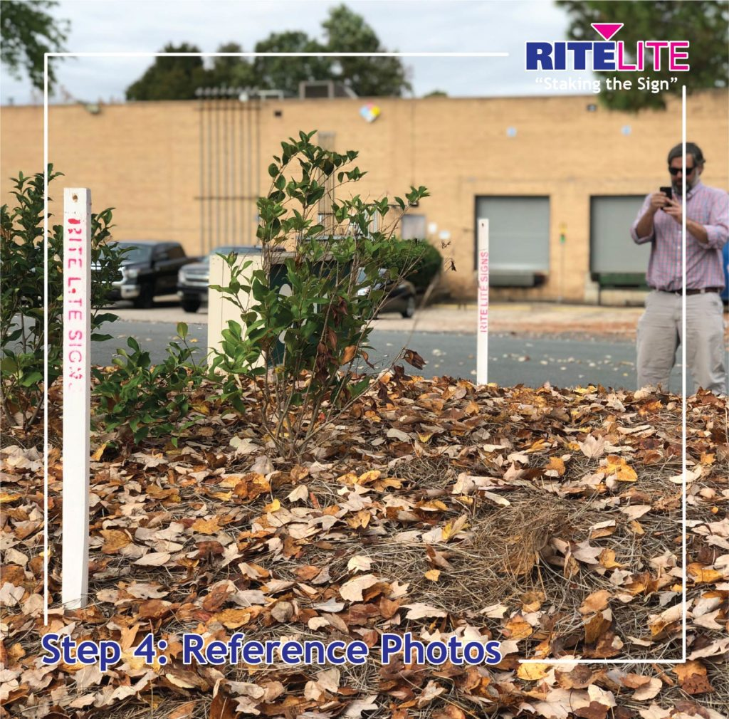 Rite Lite employee taking pictures of stakes