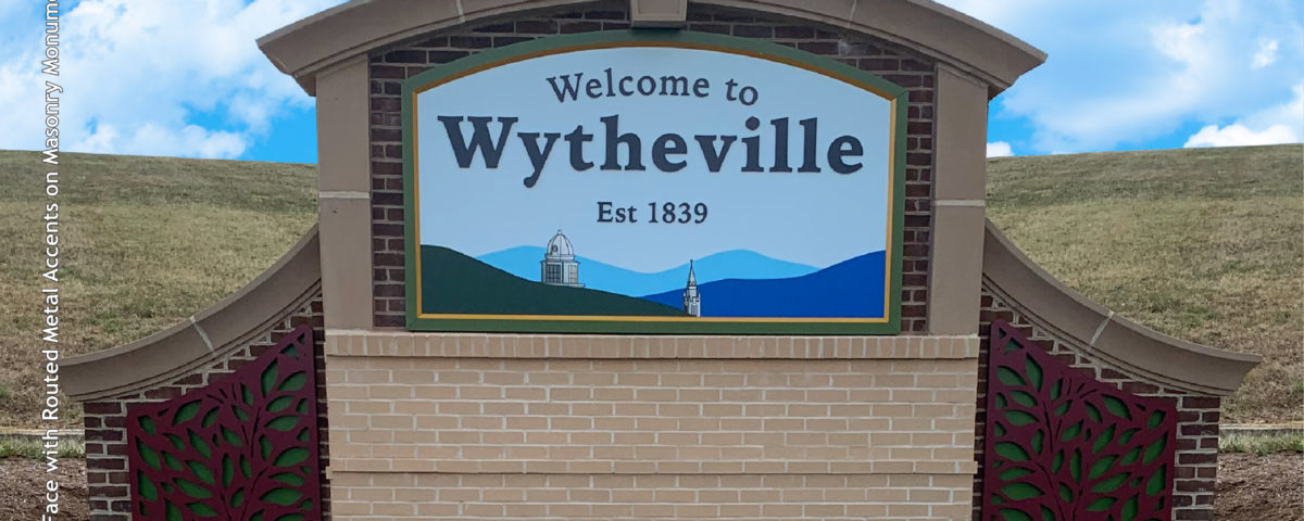 Masonry monument wayfinding sign for Wytheville West Virginia